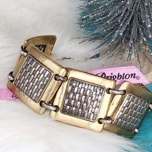 Brighton Gold Hammered Square Weave Bracelet